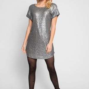 New Silver Sequin Front Dress